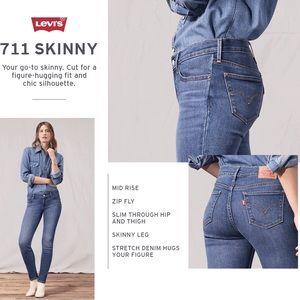 Levi's NWT 711 skinny mid rise jeans 26/ sz 2